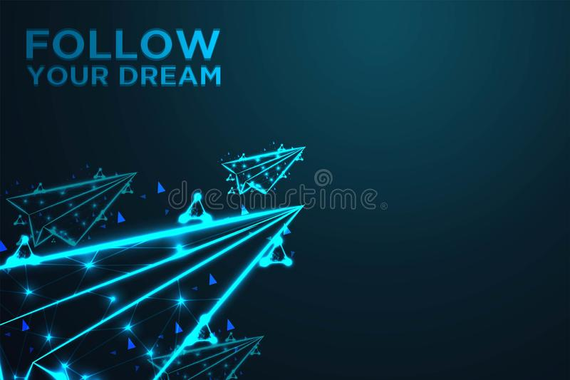 flying paper plane, follow your dream, Abstract shark form lines and triangles, , Abstract wire low poly, Polygonal wire frame mes vector illustration