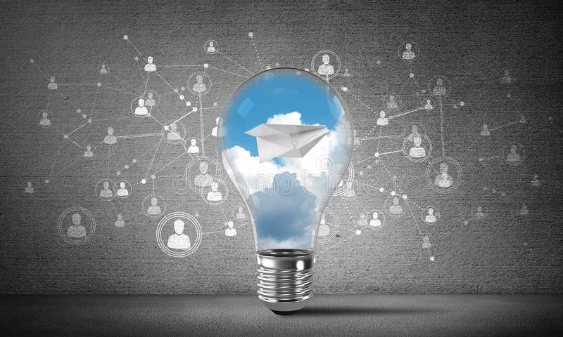 Flying paper plane in the sky inside lightbulb. Lightbulb with flying paper plane and clouds inside placed against sketched social network system on wall. 3D vector illustration