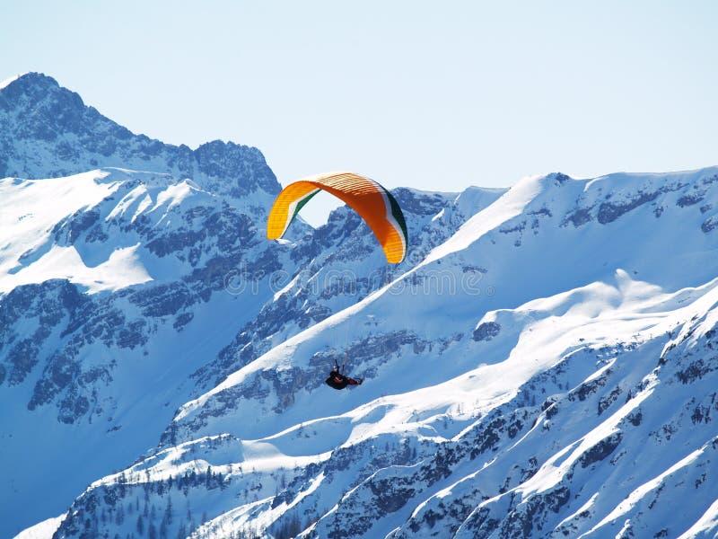 Flying paragilder. stock photography