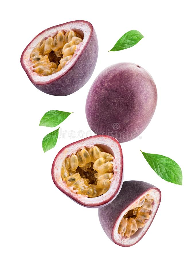 Flying passion fruits isolated on white background. Clipping path royalty free stock images