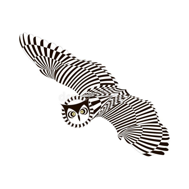 Flying patterned owl. Black white zentangle style stock illustration