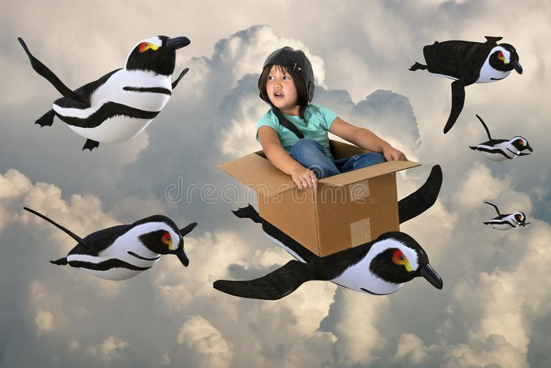 Flying Penguin Team, Imagination, Play Time. A young girl uses her imagination to fly with a team of penguins in the sky. Playtime and make believe create fun