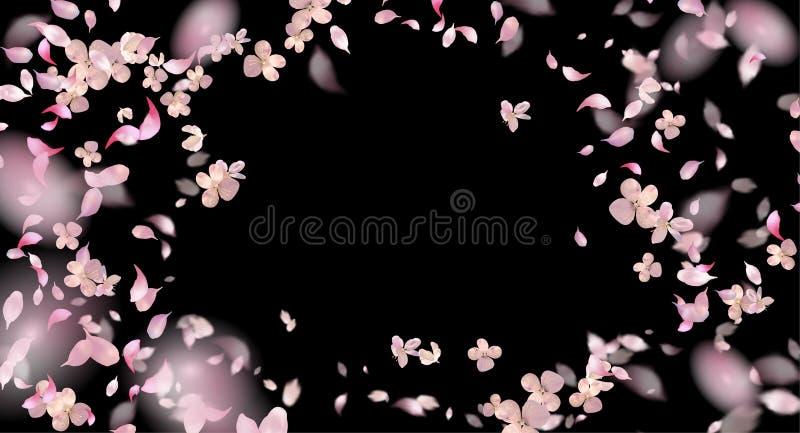 Flying Petals Over Black Background vector illustration