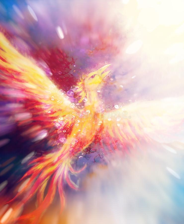 Flying phoenix bird as symbol of rebirth and new beginning. Flying phoenix bird as symbol of rebirth and new beginning stock illustration