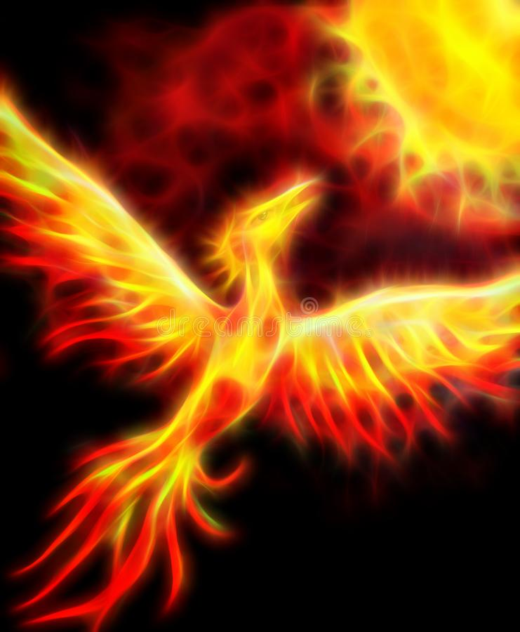 Flying phoenix bird as symbol of rebirth and new beginning. Fractal effect. Flying phoenix bird as symbol of rebirth and new beginning. Fractal effect vector illustration