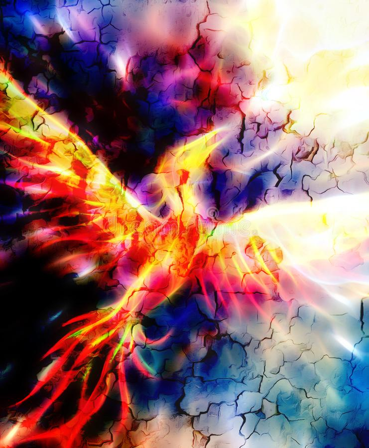 Flying phoenix bird as symbol of rebirth and new beginning. Fractal effect. Flying phoenix bird as symbol of rebirth and new beginning. Fractal effect royalty free illustration