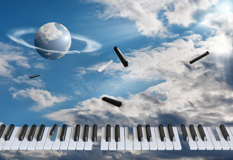 Flying piano keys are getting blown apart. Against the background of the blue sky, in the white clouds stock photo