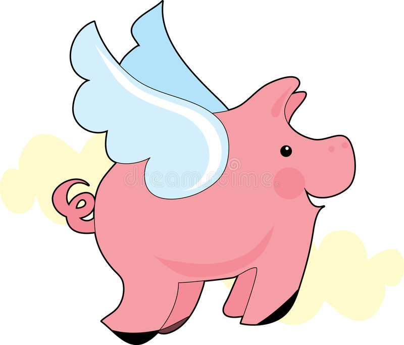 Flying Pig. Little pig flying with wings vector illustration