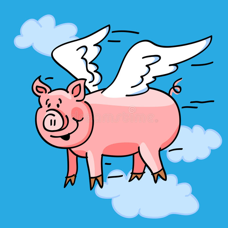Download Flying pig stock illustration. Image of fable, adage - 22731114