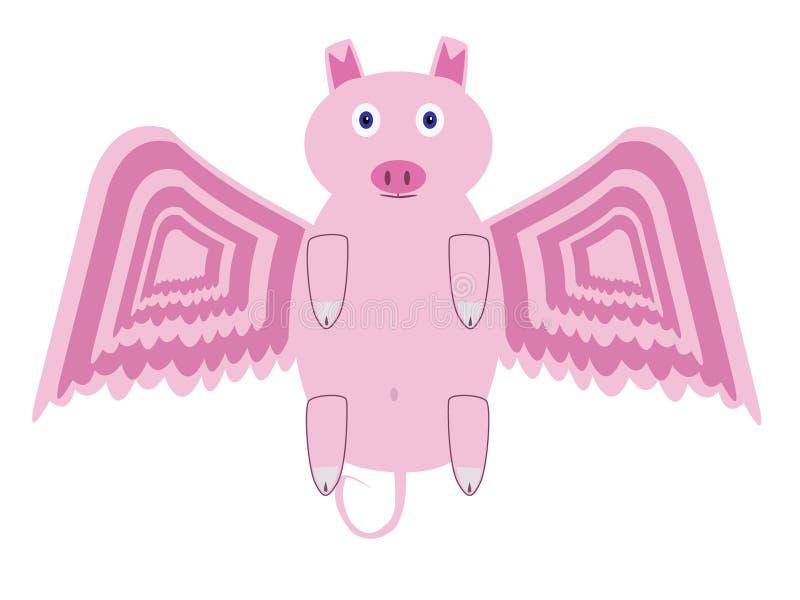 Flying pig. vector illustration