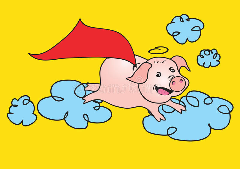 Flying Pig running in the sky vector illustration stock photo