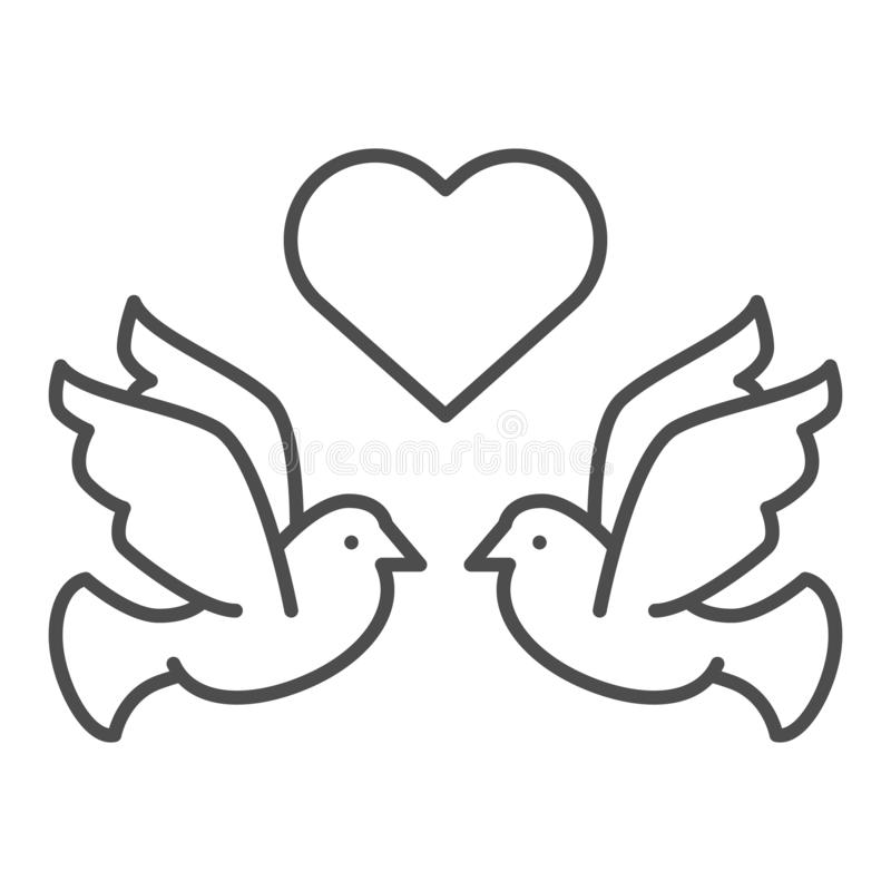 Dove With Heart Line Icon. Lovely Dove Vector Illustration ...