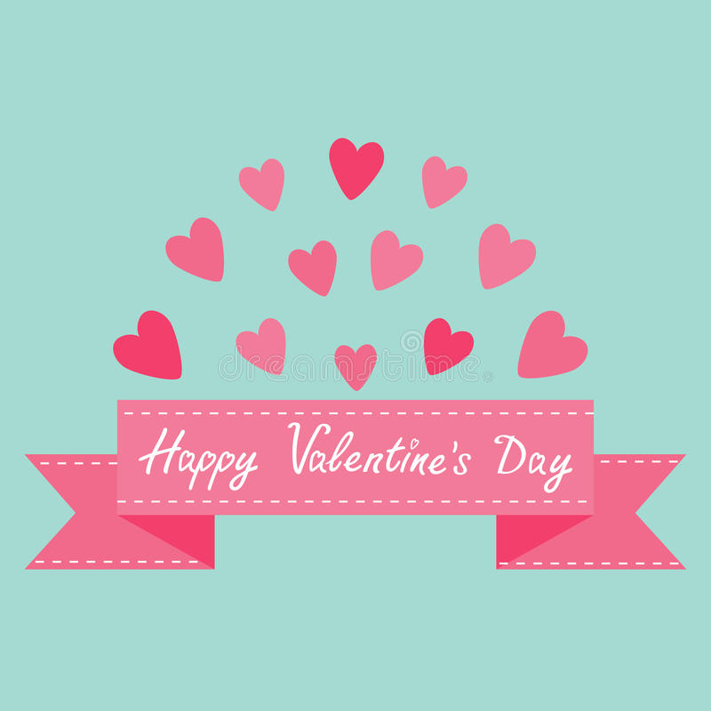 Flying pink heart and dash line ribbon. Print poster. Happy Valentines day text. Greeting card. Flat design. Blue background. Isol. Ated. Cute decoration element stock illustration