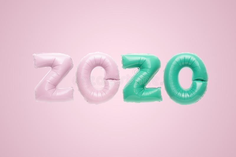 Flying pink and mint numbers 2020 foil balloons isolated on pink background. Greeting card to celebrate 2020 Happy New Year with copy space royalty free stock photo