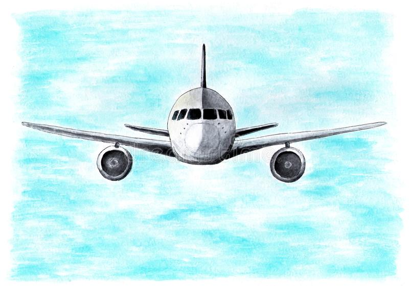 The plane in the sky flies to the camera. Watercolor illustration. royalty free illustration