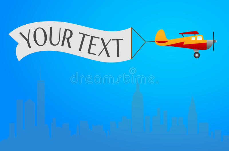 Flying plane with vector illustration