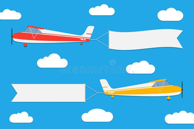 Flying planes with banners. Set of aircrafts with advertising ribbons on blue sky background. Vector. royalty free illustration