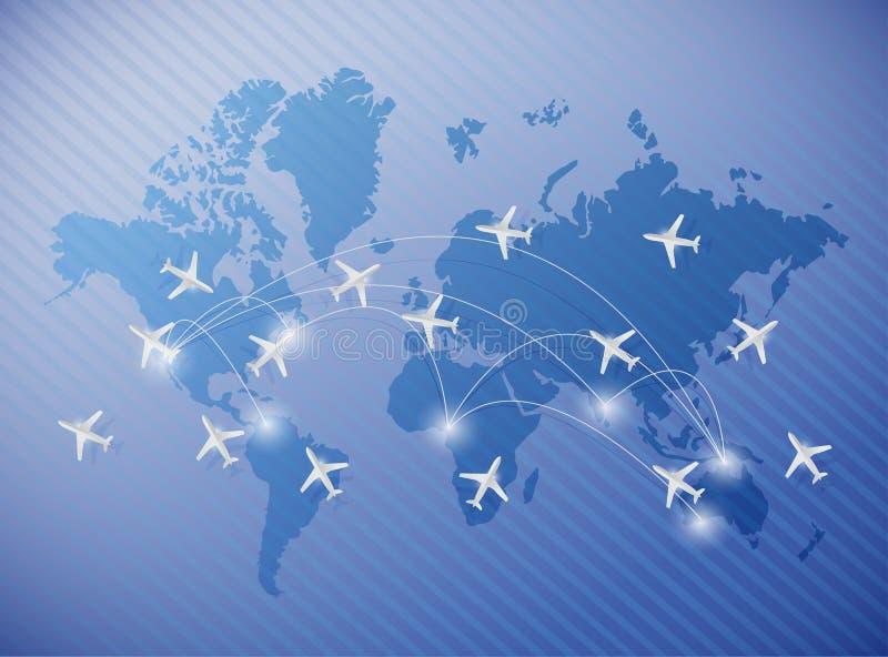 Flying planes over a world map illustration vector illustration