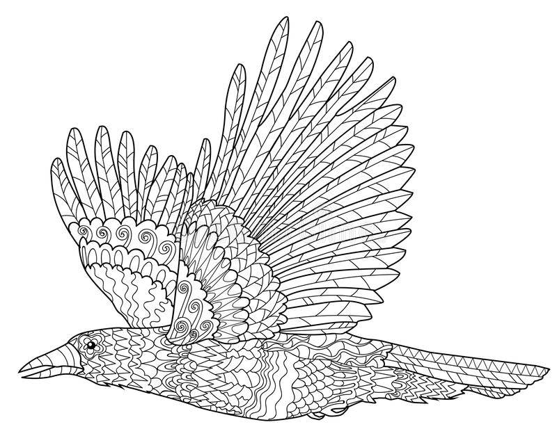 Flying raven with high details. royalty free illustration