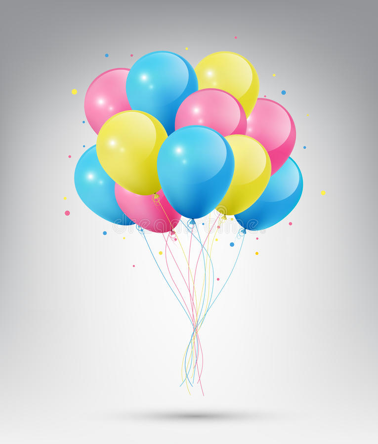 Flying Realistic Glossy Blue, Pink and Yellow Balloons with Party and Celebration concept on white background stock illustration