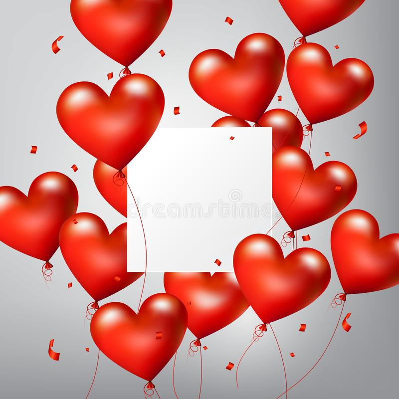 Flying Realistic Glossy Red Heart Balloons with square white blank and confetti particles, Happy Valentines day, vector stock illustration