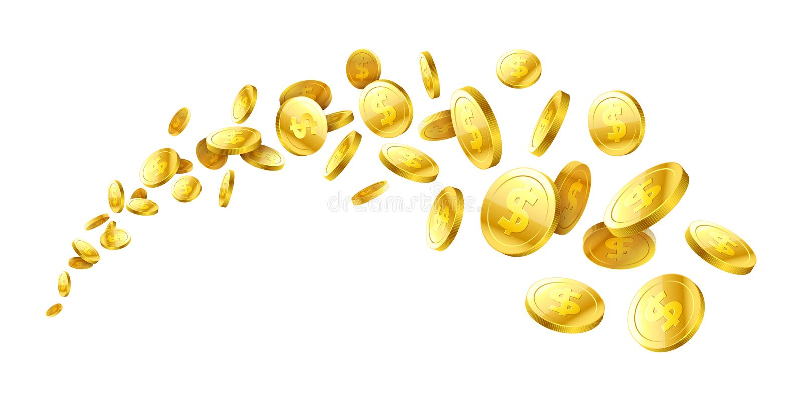 Flying realistic gold 3d coins stock illustration