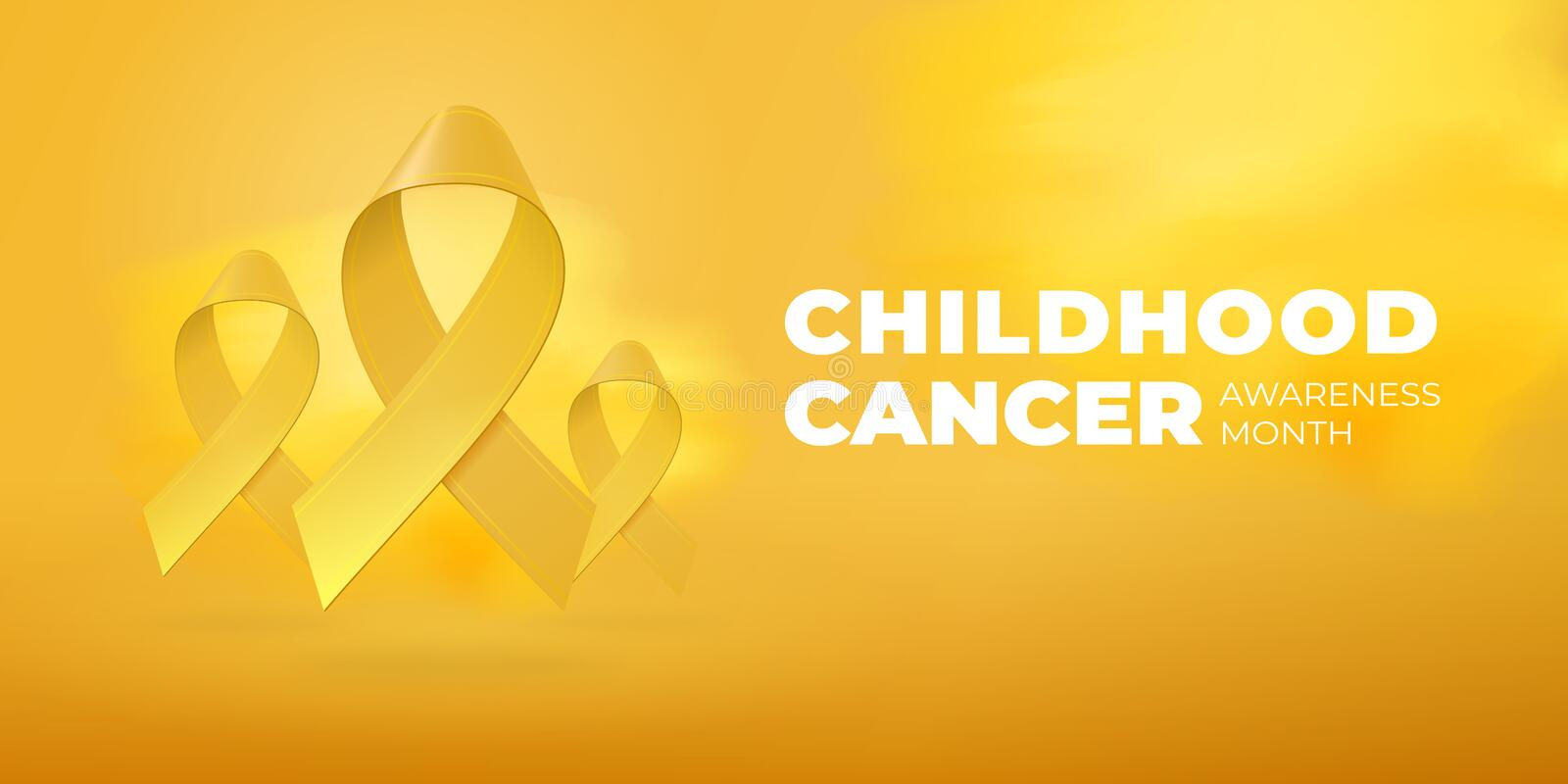 Flying realistic Yellow ribbons on bright Yellow background with copy space. Childhood Cancer Awareness Month typography. Medical. Symbol in September. Vector royalty free illustration