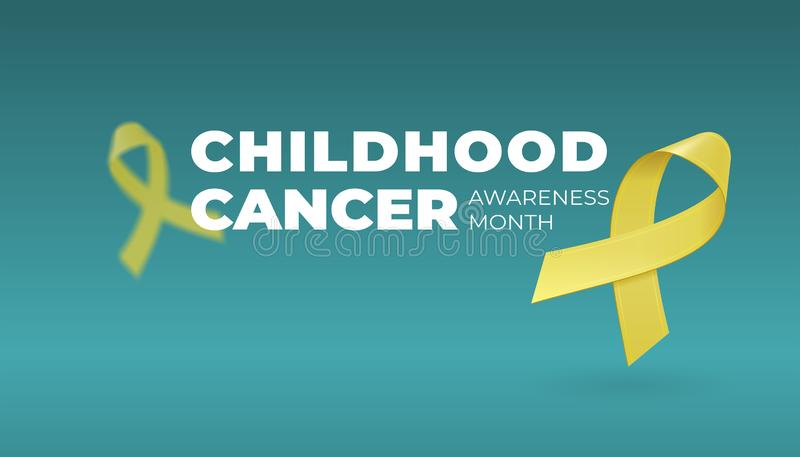 Flying realistic Yellow ribbons on dark background with copy space. Childhood Cancer Awareness symbol in September vector illustration