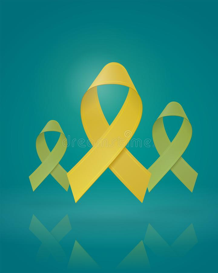 Flying Realistic Yellow Ribbons on isolated background. Childhood Cancer Awareness symbol in September. Editable. Template for banner, poster, invitation, card vector illustration