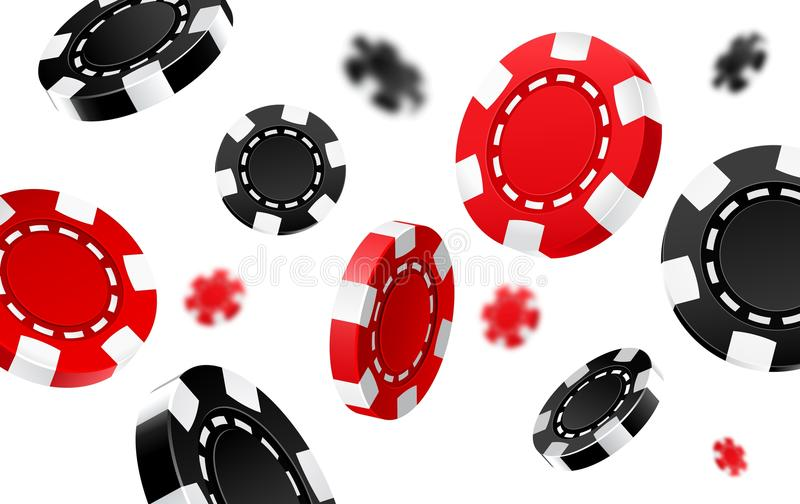 Flying red and black casino chips. Realistic 3d coins for poker or roulette. Fortune and luck, game and bet, success and money, opportunity and gambling theme stock illustration