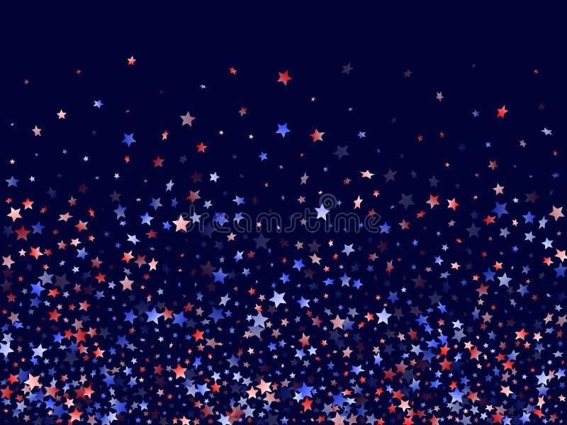 Flying Red Blue White Star funkelt vektoriellen patriotischen Hintergrund in Amerika stockfotos