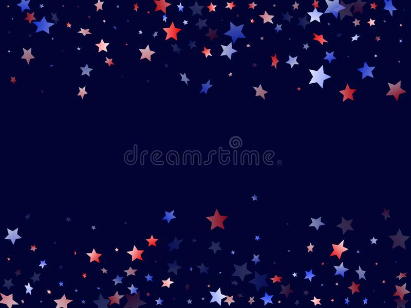 Flying red blue white star sparkles vector american patriotic background. royalty free stock image