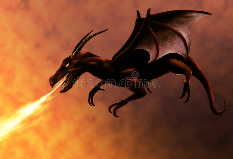 Flying Red Dragon vector illustration