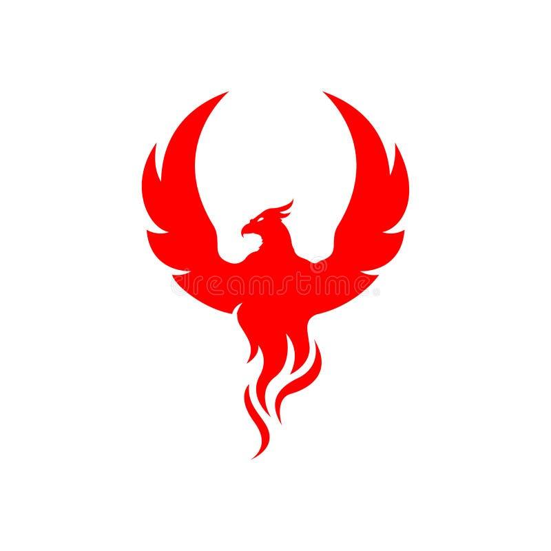 flying rise wings fire phoenix bird Logo design vector illustrations stock illustration