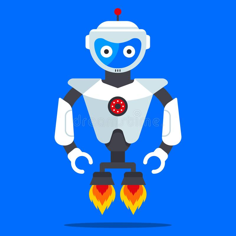 Flying robot from the future. Modern and fashionable humanoid. Flat character vector illustration vector illustration