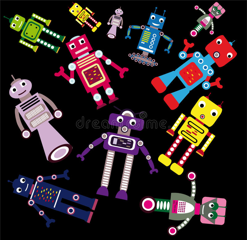 Flying robots. Funny coloring robots flying on black background royalty free illustration