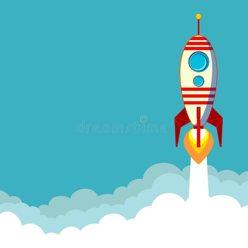Flying Rocket with space for text. Stock Vector Illustration of a Cartoon Flying Rocket with Illyuminotor and Flames from the Engine with space for text in the royalty free illustration
