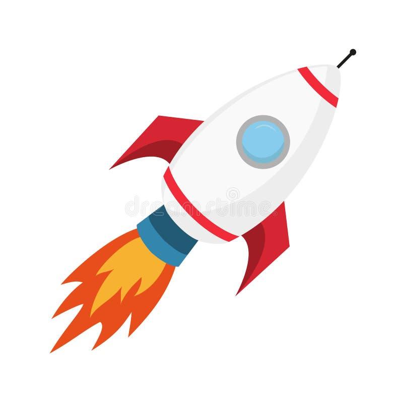 Flying rocket on the white background. vector illustration
