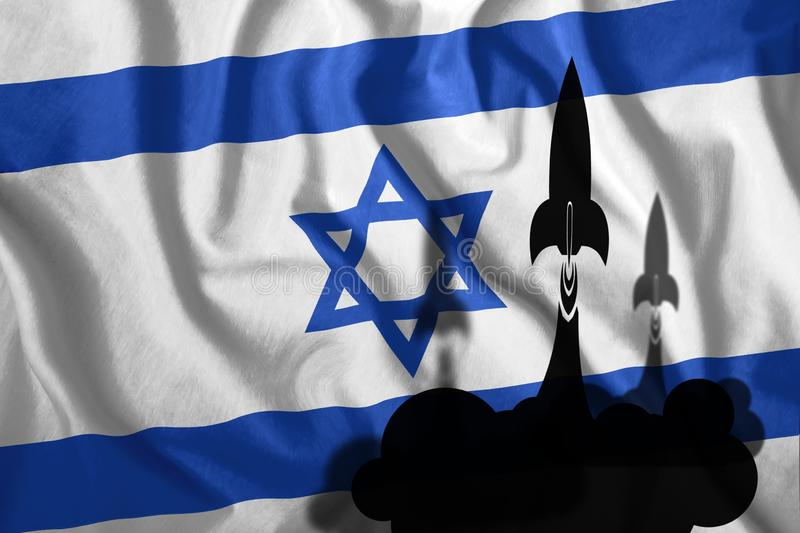 Flying rockets against the background of the Israeli flag waving in the wind. Colorful national flag of Israel. Patriotism, royalty free illustration