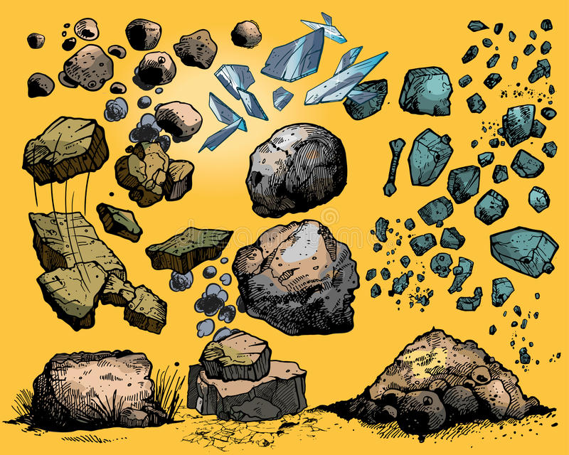 Flying Rocks And Stones Stock Image
