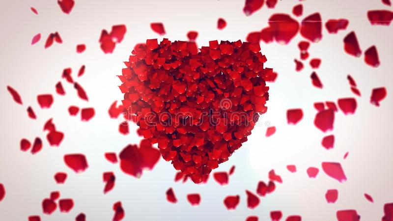 Flying Rose Petals Making Heart. A hearty 3d illustration of flying petals of red roses in the white background. They make one big red heart and symbolize deep royalty free illustration