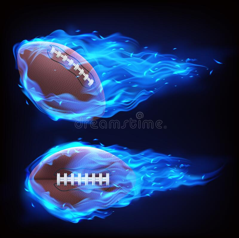 Flying rugby ball in blue fire. Isolated on black background. Vector realistic symbol of american football in plasma flame. Template for poster, banner for the royalty free illustration