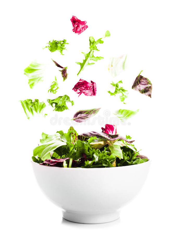 Flying salad royalty free stock photography