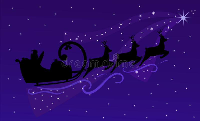 Flying Santa Claus and Christmas reindeers vector illustration