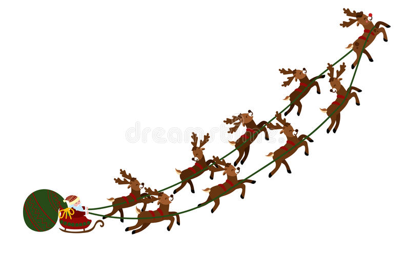 Flying Santa in a sleigh with deer. Christmas illustration of Santa Claus in a cart and a bag of gifts. New Year stock illustration
