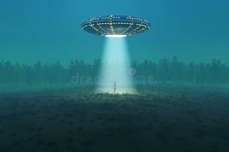 Flying saucer arrived vector illustration