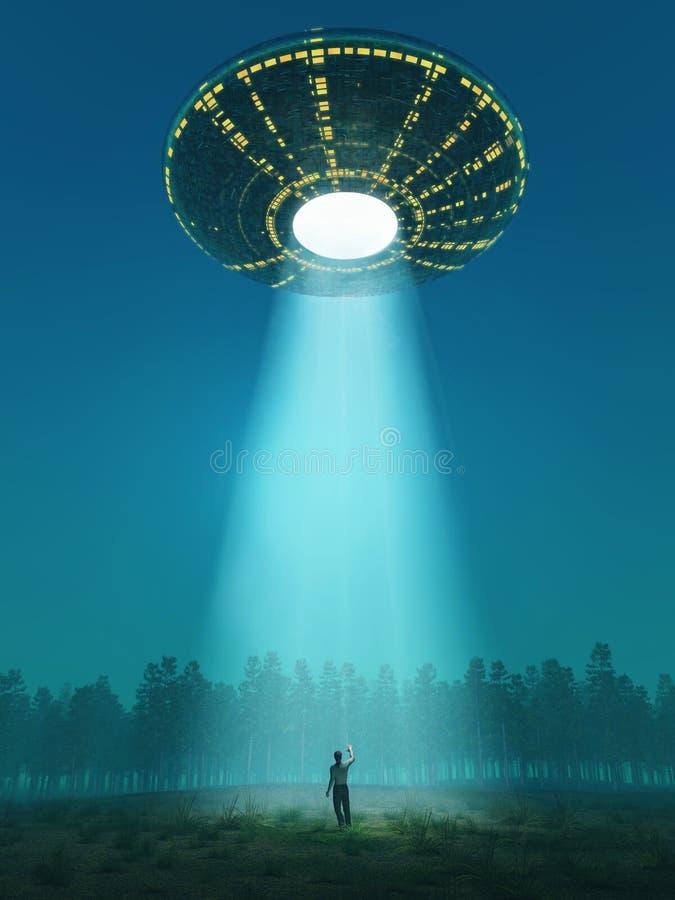 Flying saucer arrived royalty free illustration