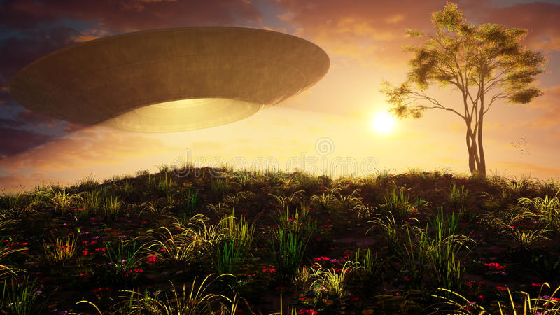 Flying Saucer Over Sunset Hill. Flying saucer over a hill with a tree in warm sunset environment with soft clouds and sun. A stylized and high quality science royalty free illustration