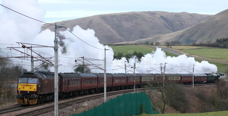 Flying Scotsman Christmas Dalesman special train. 60103 the Flying Scotsman preserved steam train hauling the Flying Scotsman Christmas Dalesman special train on stock image