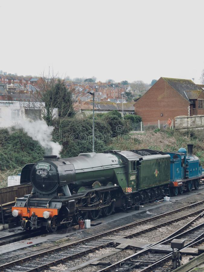 Flying Scotsman. The Flying Scotsman gets ready for a busy day in Swanage, Dorset UK royalty free stock photo